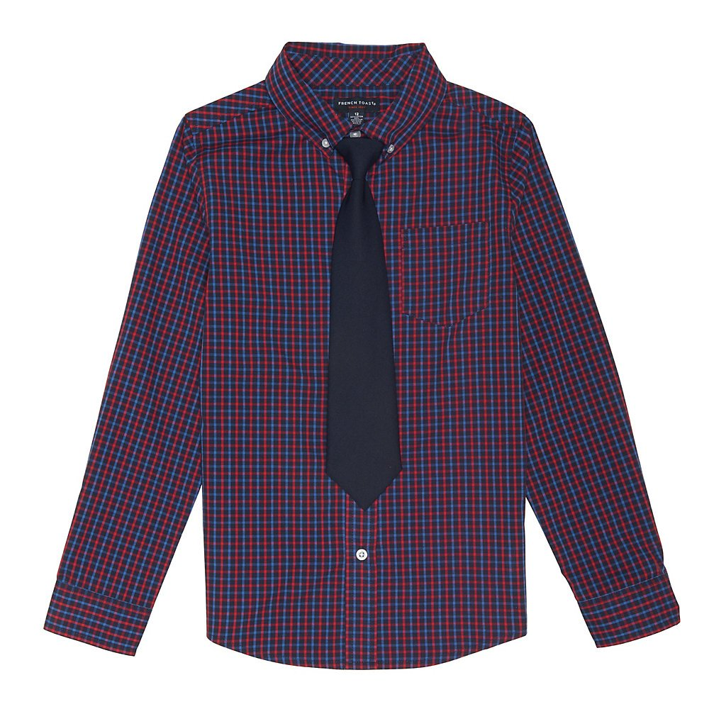 French Toast Boys' Big Long Sleeve Dress Shirt with Tie, Navy Check, 16