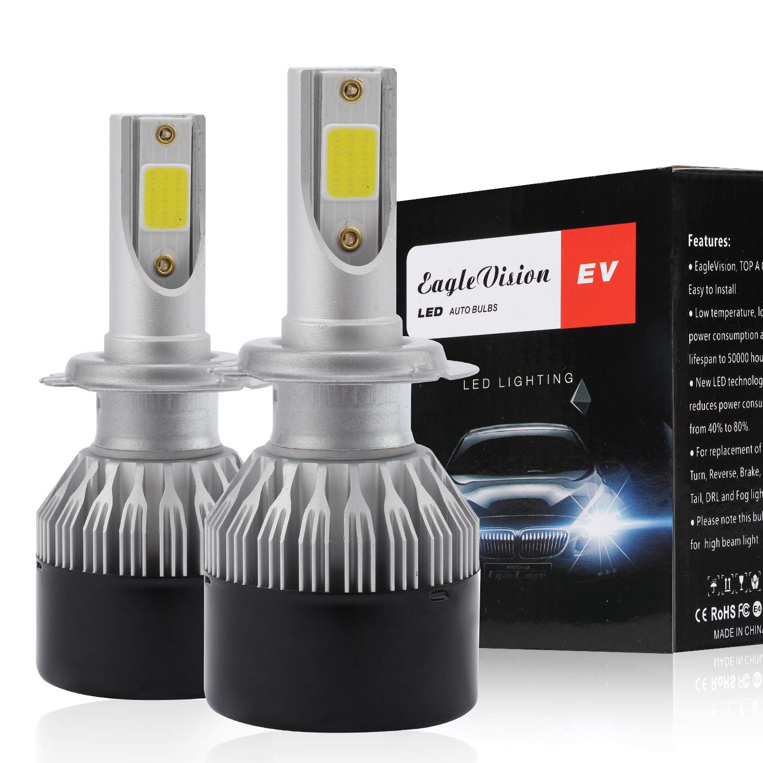 H7 LED Headlight Bulbs High Beam Conversion Kit,Non-Polarity,Upgraded 60xDOB Chips Head light Halogen Replacement 6500K Xenon White Pack of 2