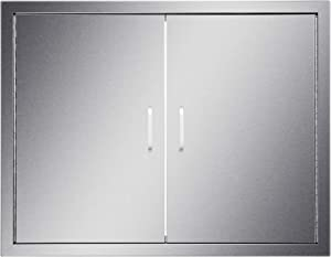 """CO-Z Outdoor Kitchen Doors, Weatherproof 304 Stainless Steel Double Access Doors for Outside Kitchen Commercial BBQ Island Grilling Station Barbeque Grill Oven Island Storage Cabinet (31"""" W x 24"""" H)"""