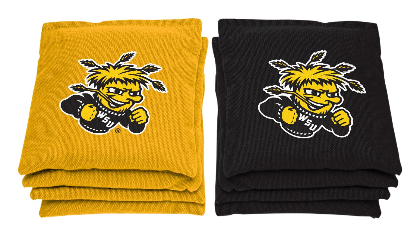 AJJ Cornhole NCAA Wichita State Shockers Bags, 6'' x 6'', Yellow