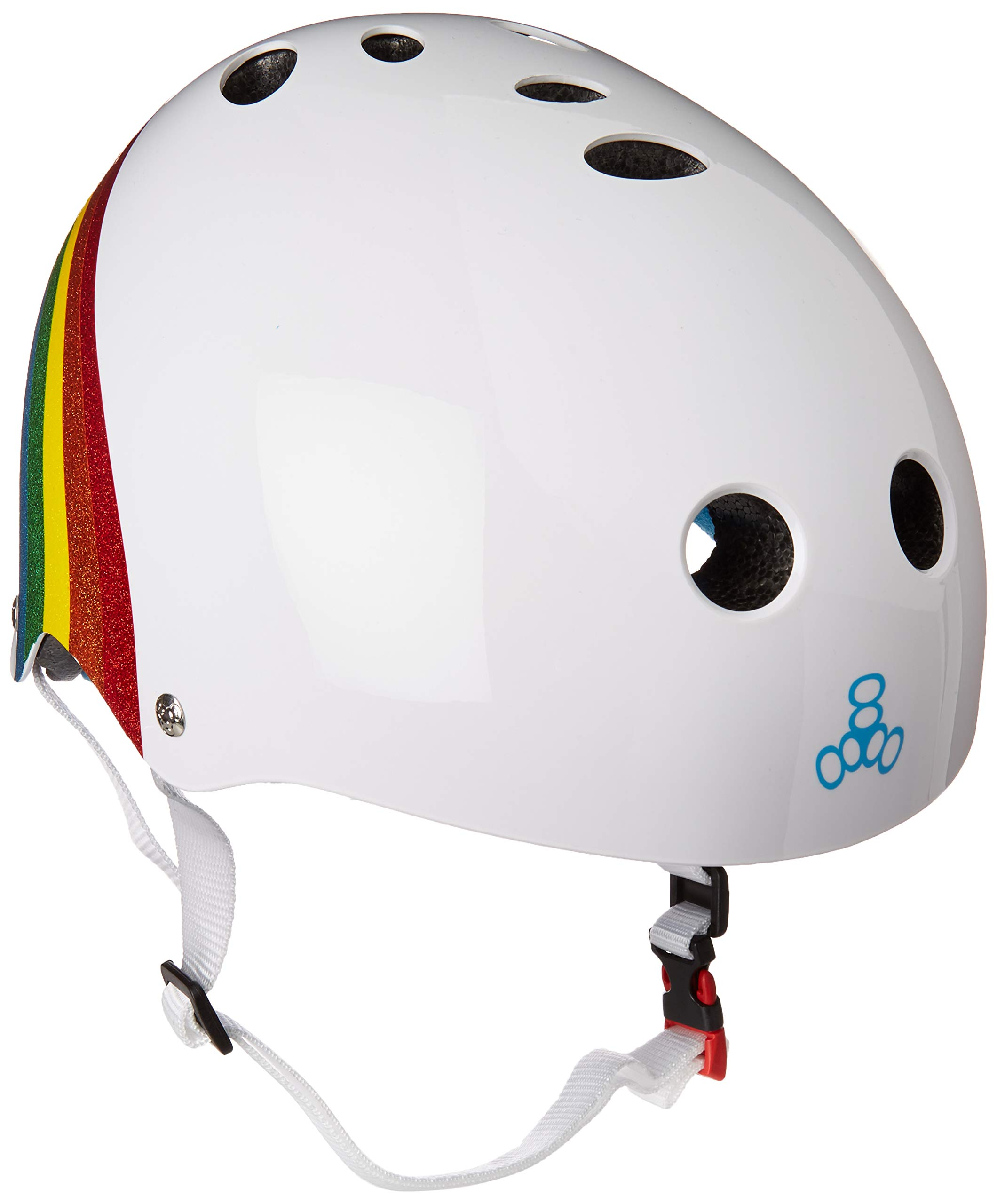 Triple Eight THE Certified Sweatsaver Helmet for Skateboarding, BMX, and Roller Skating, Rainbow Sparkle, X-Small / Small