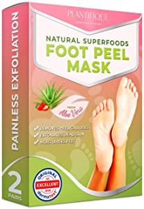 Foot Mask to Peel Away Dead Skin – Dermatologist Tested Callus Removal Mask - Get Baby Soft Feet in Just 7 Days – 2 Pairs of Foot Peel Mask for Dry Skin Exfoliation and Cracked Heel Treatment