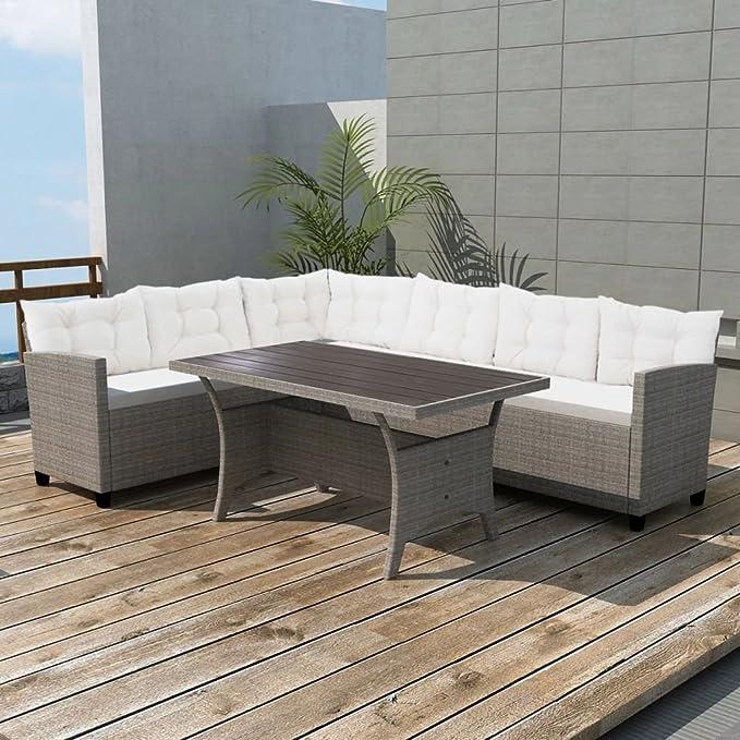 vidaXL Set de Sofás de Esquina Jardín Exterior 12 Piezas Ratán Sintético Gris