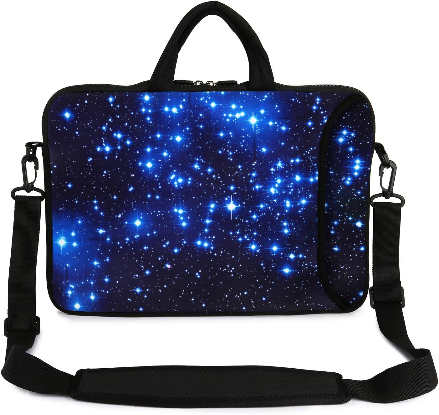 "Violet Mist 13"" 15"" 15.6"" Neoprene Laptop Sleeve Bag Waterproof Sleeve Case Adjustable Shoulder Strap External Pocket(11"" 12"" 13""-13.3"", Blue Star2)"