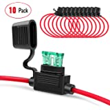 Nilight 10 Pack NI-FH01 Inline Holder 14AWG Wiring Harness ATC/ATO 30AMP Blade Automotive Fuse Holder-10