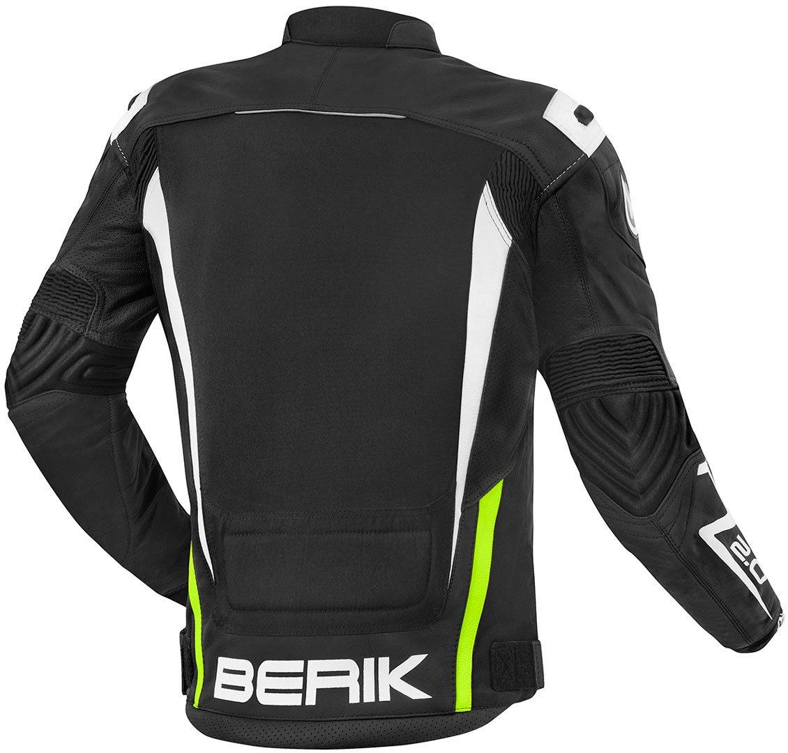 Berik Radic Motorrad Lederjacke 50 Schwarz//Gr/ün//Wei/ß