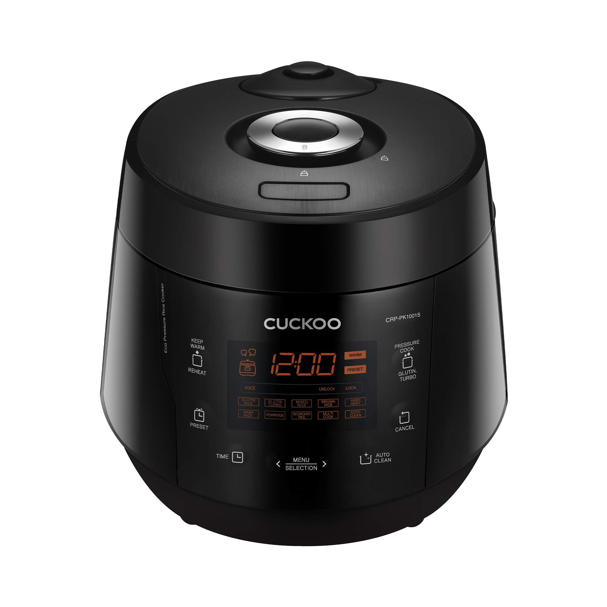 Cuckoo CRP-PK1001S Multifunctional & Programmable Electric Pressure Rice Cooker, Non-Stick Pot, Intelligent Cooking Algorithm, Made in Korea, 10 Cups, Black