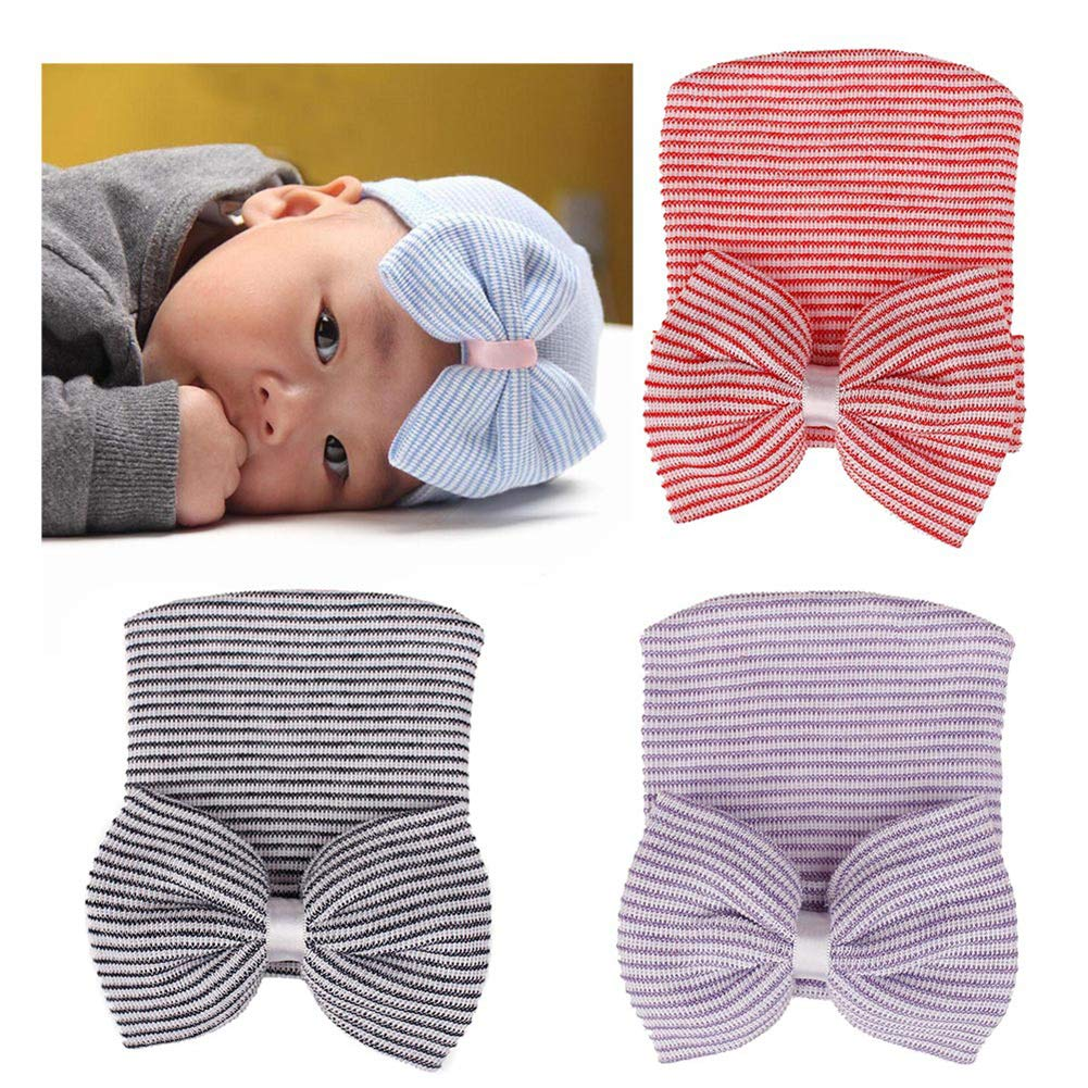 eroute66 Lovely Newborn Baby Big Bow Striped Beanie Cap Photography Prop Knitted Hat White Red