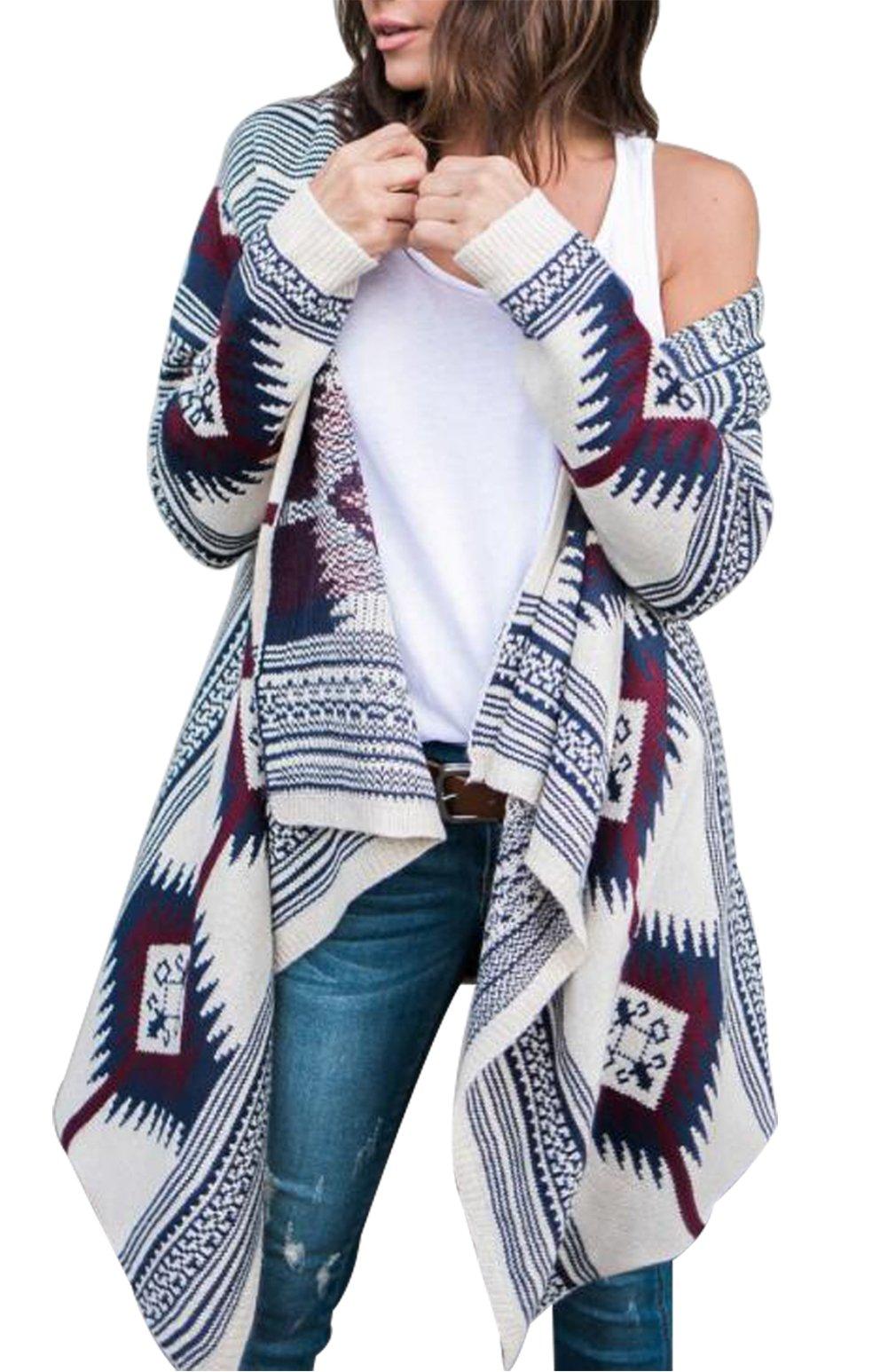 MAXIMGR Womens Geometric Irregular Hem Shawl Collar Open Front Outwear Cardigan Coats Size L(US 6-8) (Blue)