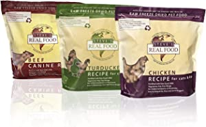 Steve's Real Food Raw Freeze Dried Dog Food Assorted Flavors- 3 Packs of 1.25 lb Bags of High Protein Dog Food in Chicken, Beef, and Turkenduck Flavors - 100% Natural USDA Human Grade Ingredients
