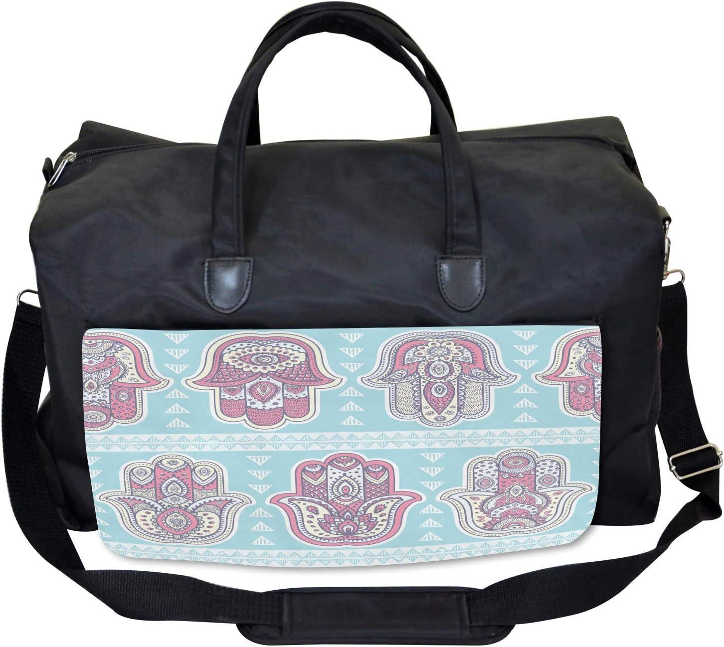 Boho Ornate Asian Art Large Weekender Carry-on Ambesonne Hamsa Gym Bag