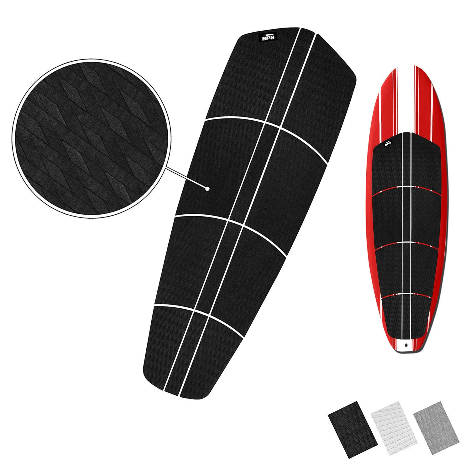 BPS 12-pc EVA Sheet Traction Pad with 3M Adhesives - for Paddleboard, Longboard, and Surfboard (Charcoal Black) by BPS