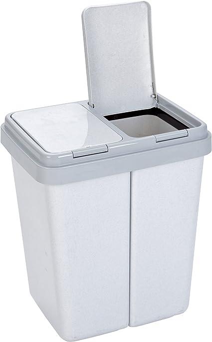 YUSHI Cubos de Basura Cocina cil/índrico extra/íble,con 2 Compartimentos,Doble contenedor con Separador,Contenedor De Basura Pl/ástico Capacidad de 2 x 15L,para Oficina Ba/ño Dormitorio,Gris
