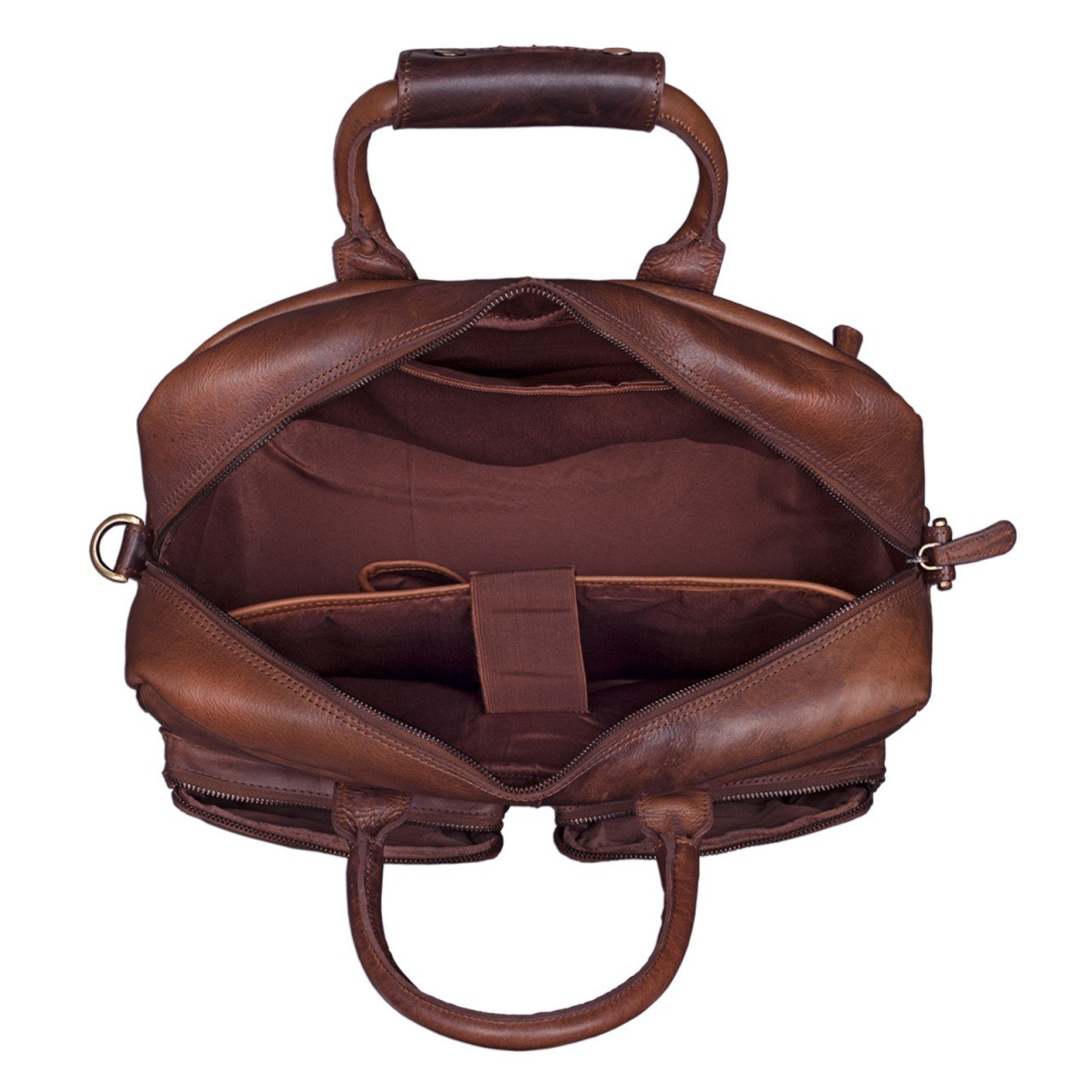 STILORD 'Adventure' Sac de Professeur d'enseignant Vintage Sac d'Ecole Porte-documents d'affaires Hommes Femmes épaule 14 pouces portable en cuir, Couleur:cognac - marron foncé