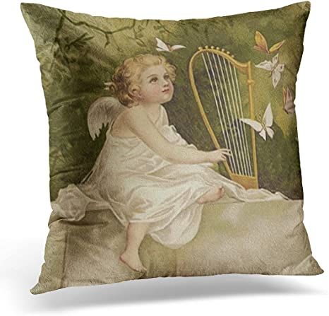 Amazon Com Vanmi Throw Pillow Cover Cherub Little Angel With Butterflies And Harp Vintage Decorative Pillow Case Home Decor Square 18x18 Inches Pillowcase Home Kitchen