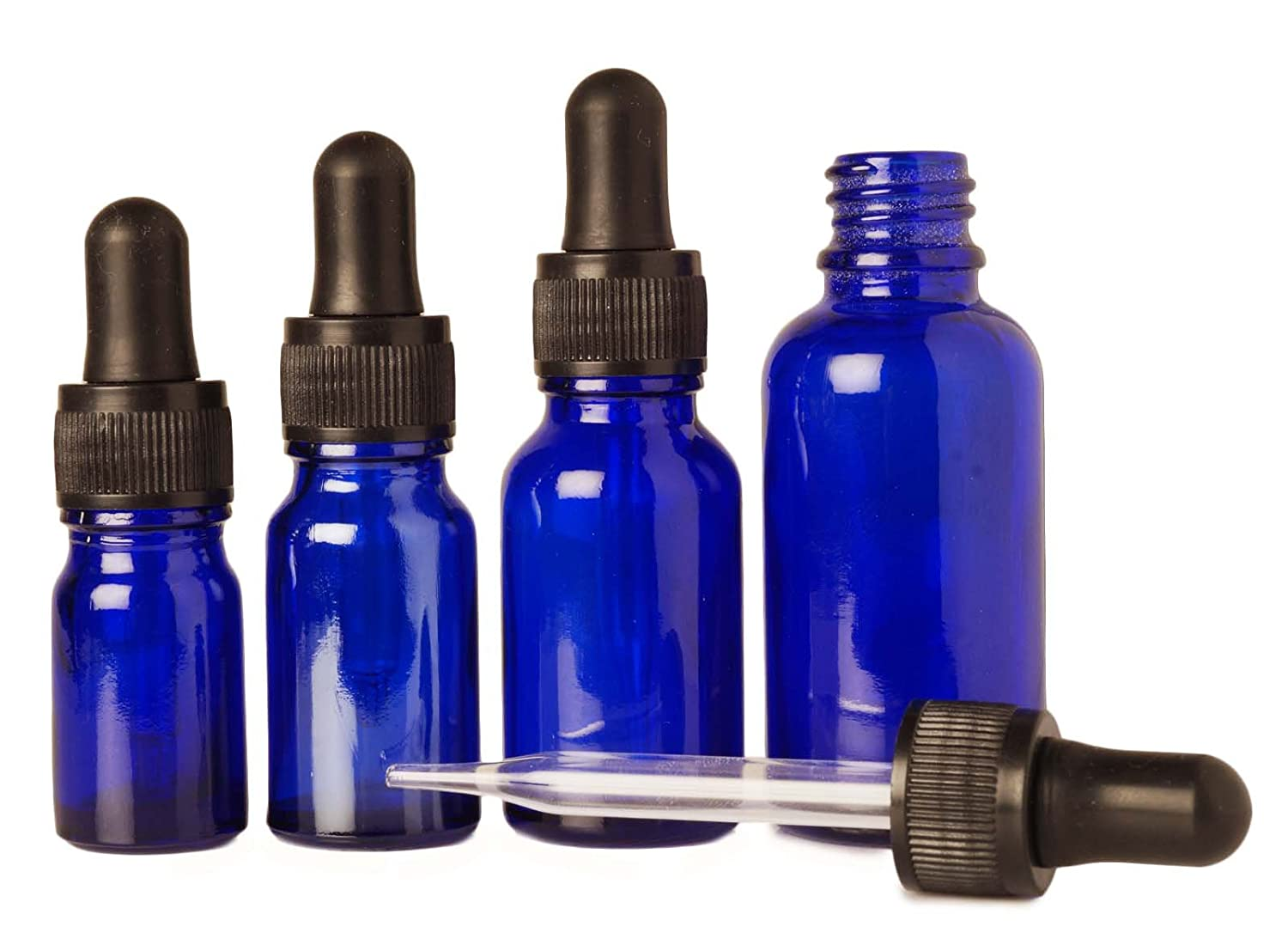 15 ml Empty Cobalt Blue Glass Eye Dropper Bottle Aromatherapy Oils Wholesale Bottles Boston Round Refillable Serum Vials Lot Of 6 Pipette Bottles MT Bottles & Jars