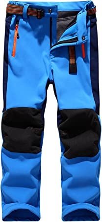 Pantalon Impermeable Trekking Ni/ño Softshell Pantalones de Monta/ña Deporte al aire libre Pantalones Senderis Ni/ña Pantalones de Escalada
