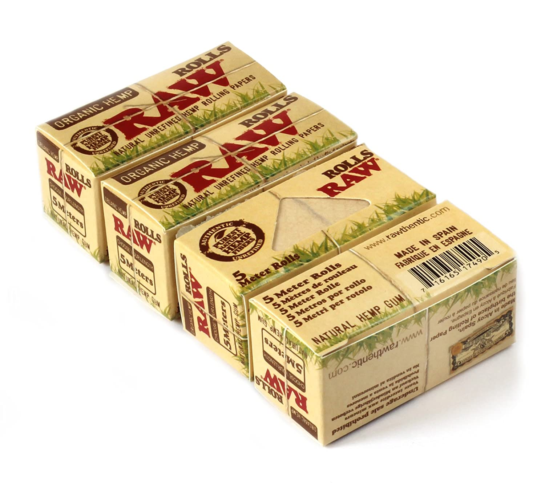 RAW Natural UNREFINED Hemp ORGANIC Rolling paper ROLLS - 4 x 5m papers