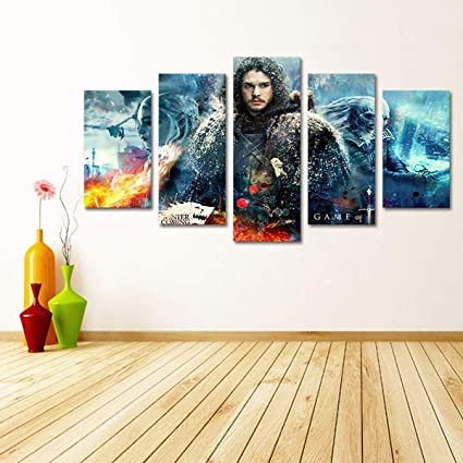 Canvas Painting Home Decoration Wall Art 5 Panel Game Of Thrones Poster For Living Room Modern Hd Printed Modular Pictures B 40x60x2 40x80x2 40x100x1