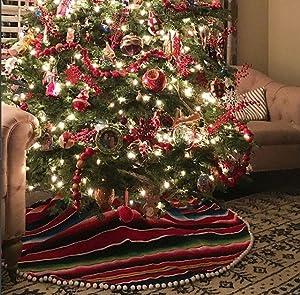 Del Mex Mexican Serape Blanket Christmas Tree Skirt with Pom Pom Fringe (Red)