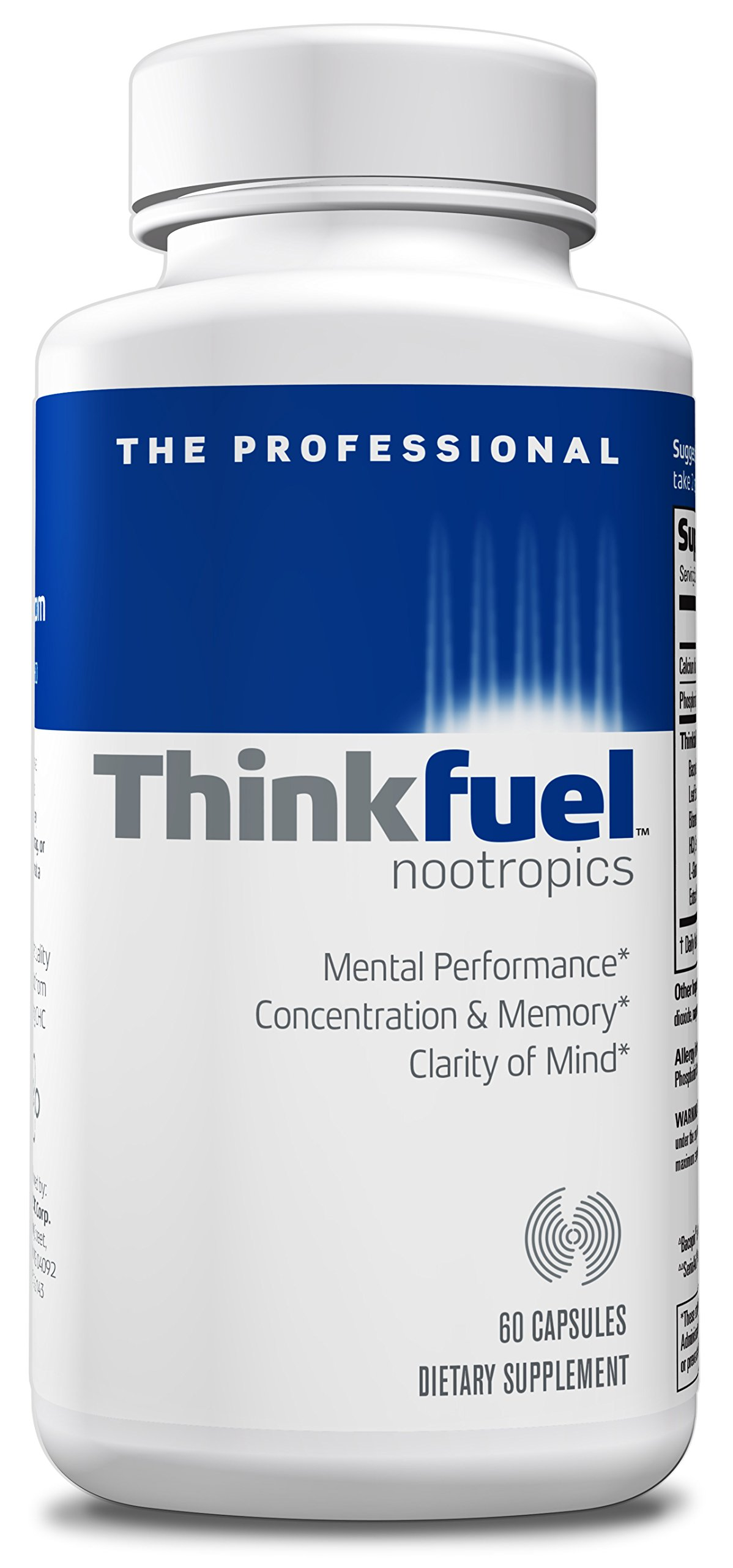 Thinkfuel For Professionals | Nootropic - Dopamine Stack to Boost Mental Clarity, Concentration & Focus w/ Bacopa, Ginkgo Biloba, L- Glutamine, Green Tea Leaf and DMAE. (60 Capsules)