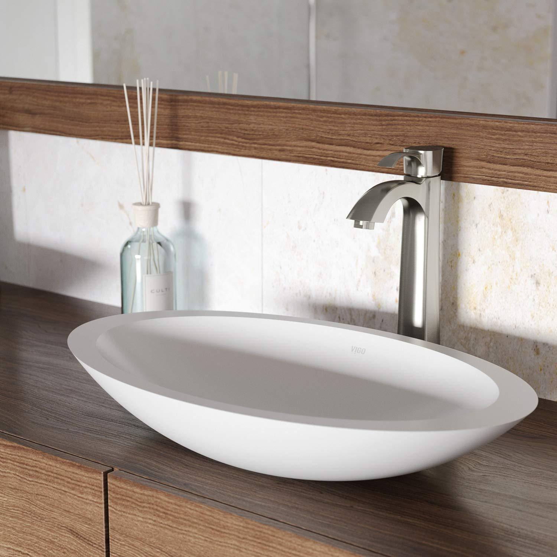 VIGO VG04011 Wisteria Matte Stone Vessel Bathroom Sink
