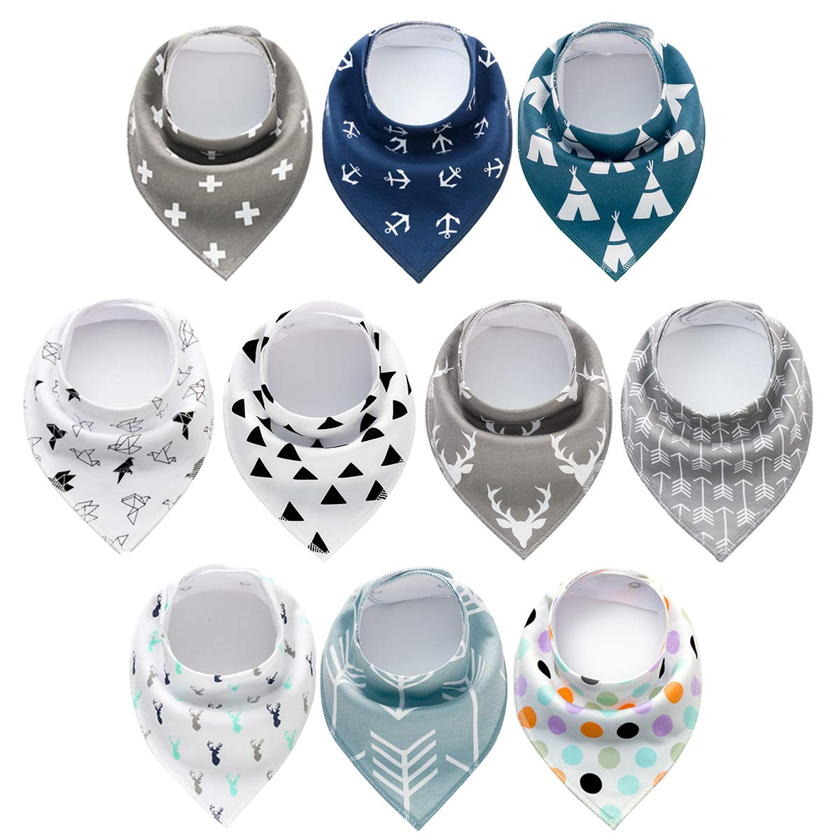 10 Pack Baby Bandana Drool Bib, 100% Cotton Baby Bibs, Unisex Gift Set Soft and Absorbent Bibs for Drooling and Teething