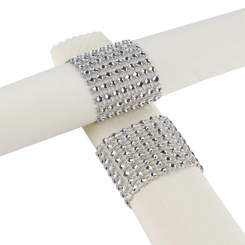 Aytai Rhinestone Mesh Bling Napkin Rings For Wedding Decoration Plastic Chair Sash Bows Napkin Holder For Diy Party Birthday Banquet Supply 5 X