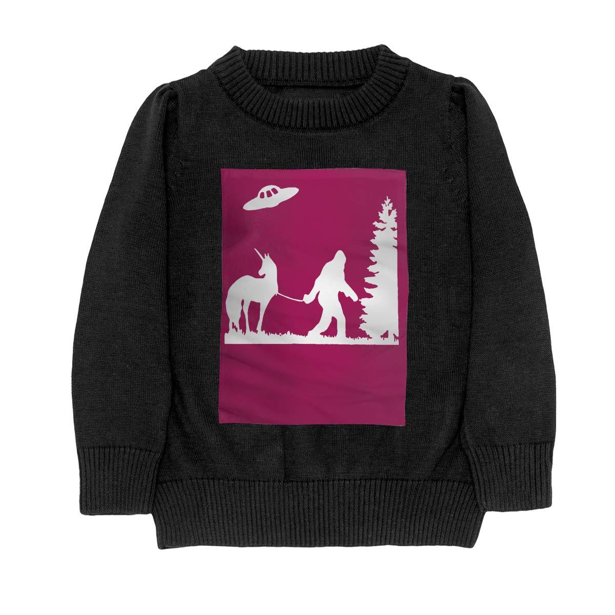 Bigfoot Leading A Unicorn with UFO Cool Adolescent Boys /& Girls Unisex Sweater Keep Warm