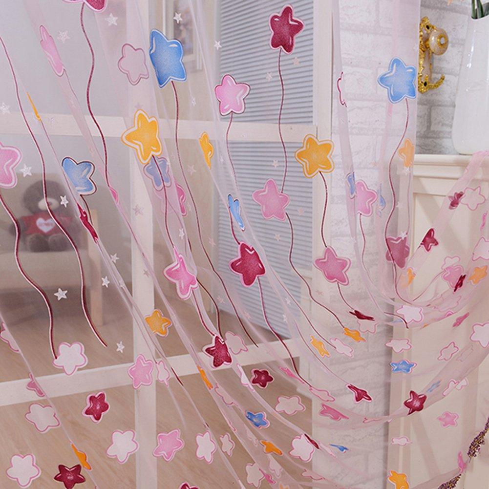 LianLe ventana cortinas de tul de gasa ventana de impresi/ón de estrellas Protector de 100/cm x 200/cm//39.4/x 78.8 Drape Sheer bufanda de girasoles para decoraci/ón del hogar habitaci/ón de los ni/ños decoraci/&oacut