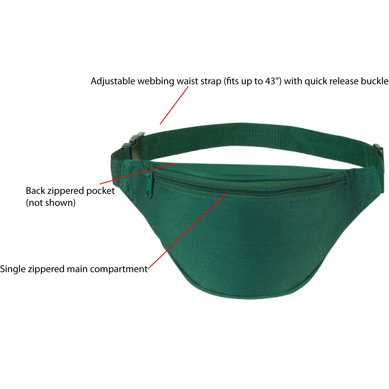 Unisex 2 Zipper Quick Release Buckle Travel Sport Running Waist Fanny Pack BuyAgain Fanny Pack