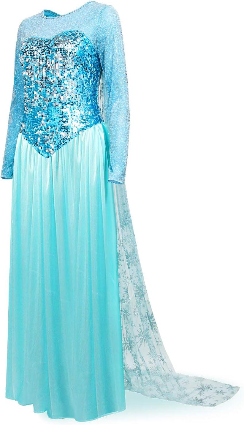XS Bleu Nofonda Femme /él/égante Robe de Princesse Costume Elsa Bleu D/éguisement pour Halloween Costume Cosplay