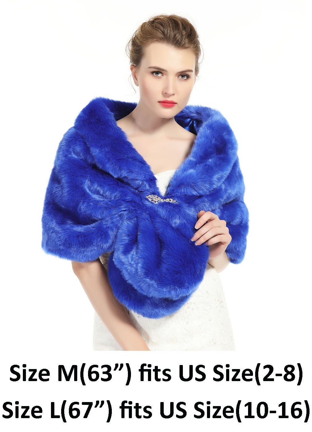Faux Fur Shawl Wrap Stole Shrug Winter Bridal Wedding Cover Up Royal Blue Size M by MISSYDRESS (Image #2)