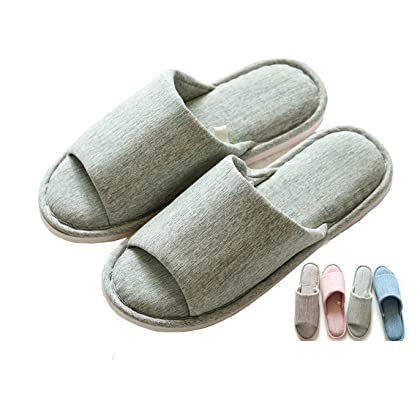 fcd529dd1610 Asifn Indoor Home Slippers Memory Foam Men Women Cotton Cozy Massage Flax  House Casual House (7.5 US Women 6 US Men