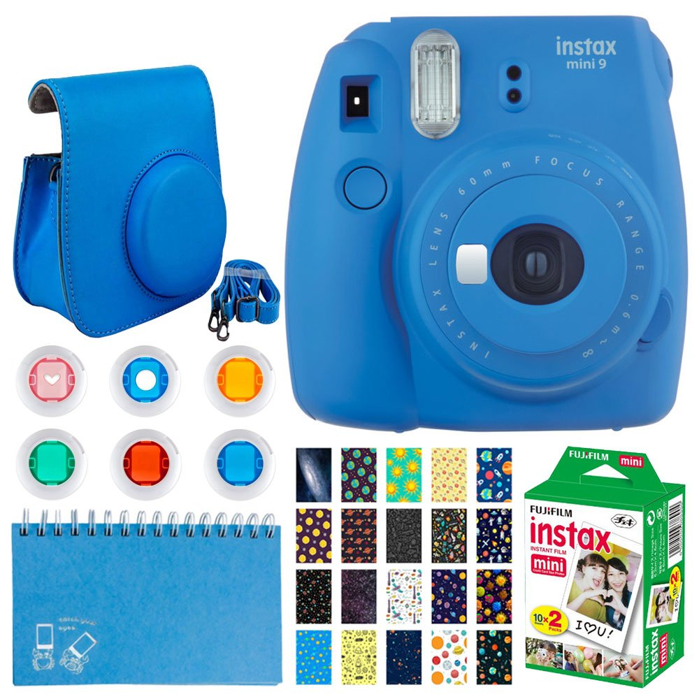 Fujifilm instax mini 9 Instant Film Camera (Cobalt Blue) + Fujifilm Instax Mini Twin Pack Instant Film + 20 Sticker Frames Solar Package + Scrapbook Album + Case with Closure + Colored Filters + More by PHOTO4LESS