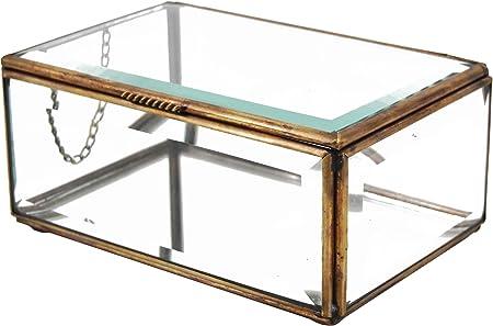 Moycor Bisel Caja Rectangular, 11x7x5, Cristal, Bronce Envejecido, 11 x 7 x 5 cm: Amazon.es: Hogar