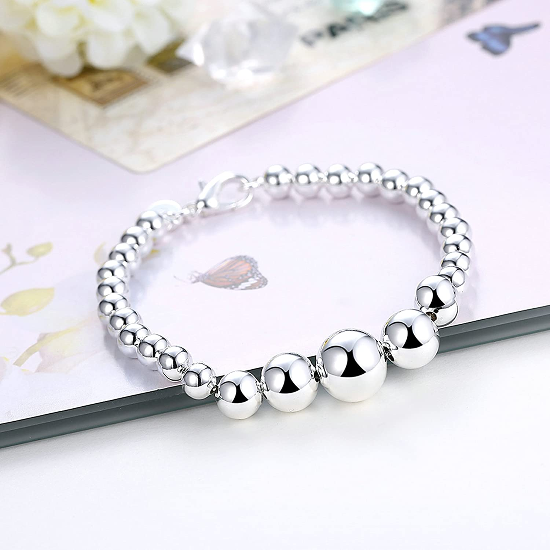 Aokarry Link Bracelet,Wedding Bracelet Bangle Copper Bead Chain n Silver Length 8.4 in