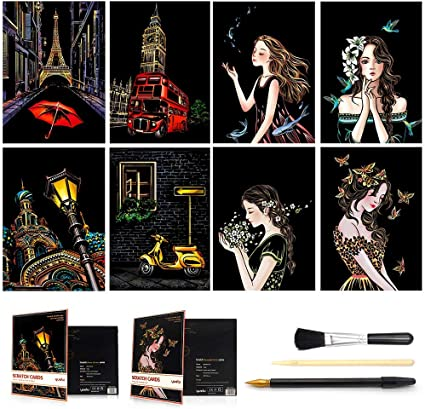 10 Sheets A4 Magic Scratch Art Painting Paper With Drawing Stick Kids Gift Toy