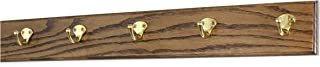 "product image for PegandRail Oak Coat Rack with Solid Brass Single Style Hooks (Walnut, 25.5"" x 3.5"" with 5 Hooks)"
