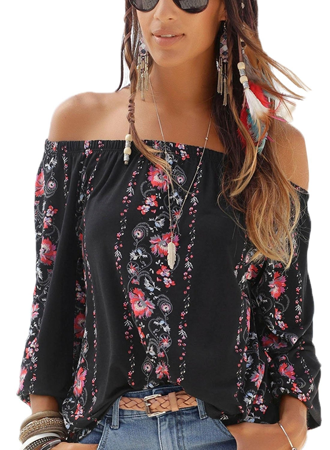 Asvivid Womens Casual Off The Shoulder Shirt Boho Floral Print Long Sleeve Loose Blouses Tops S Black