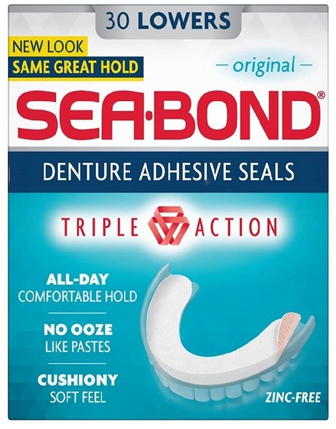 Sea-Bond Denture Adhesive Seals Lowers, Original - 30 ea., Pack of 3 COMBE INCORPORATED