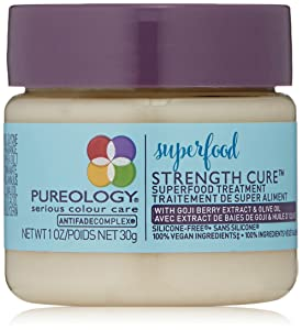 Pureology | Strength Cure Superfood Treatment Hair Mask | For Dry, Color Treated Hair | Silicone-Free | Vegan
