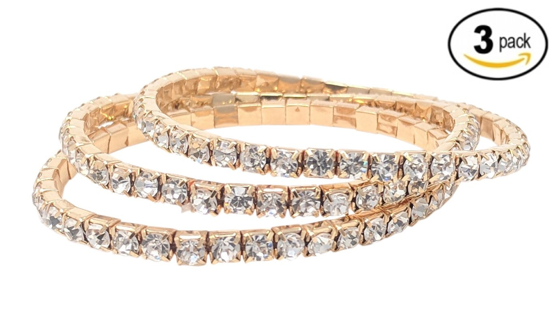 SIMPLICHIC Rhinestone Stretch Bracelet (GOLD (1-Line) - Triple Pack)