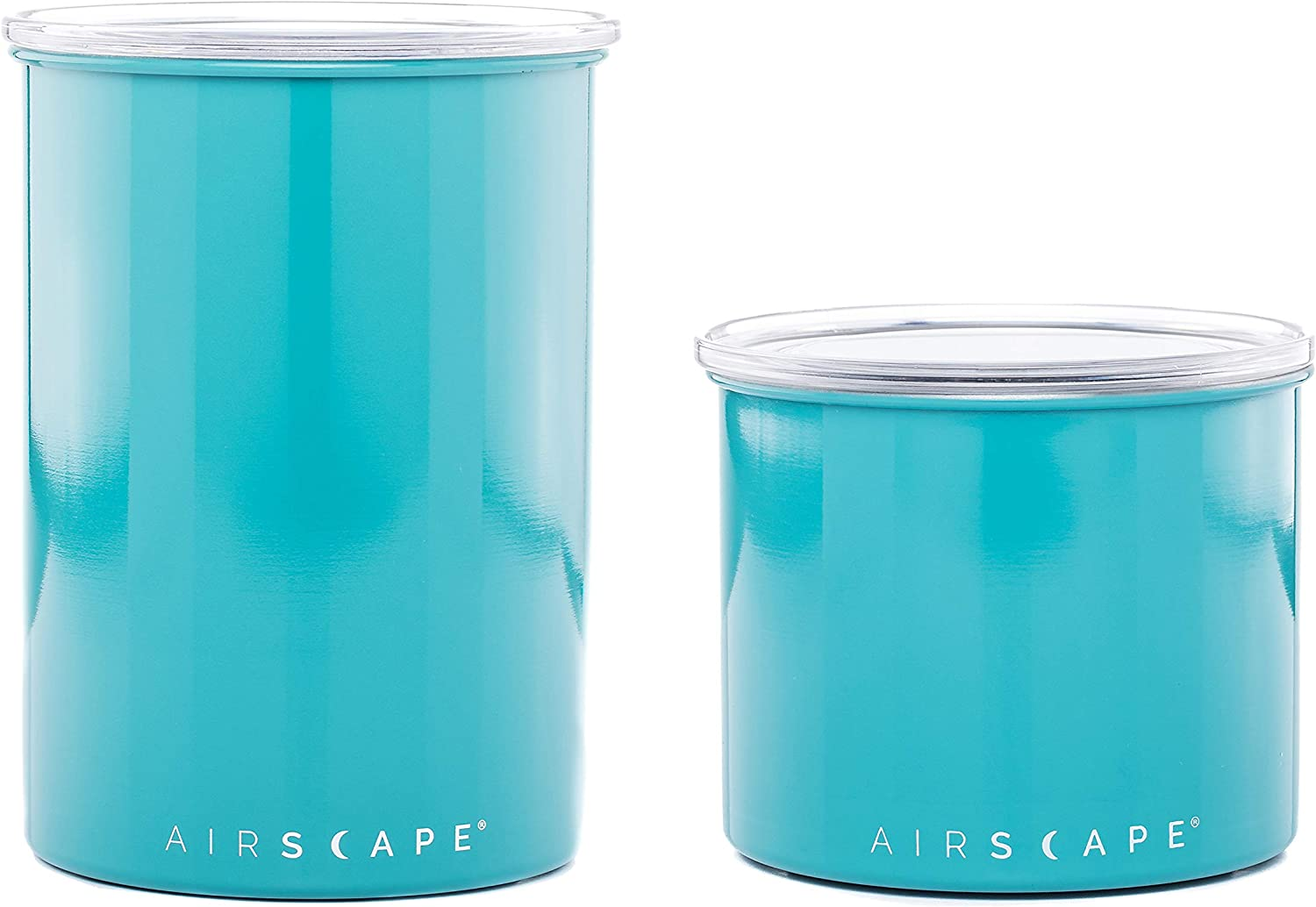 Airscape Coffee and Food Storage Canister - Patented Airtight Lid Preserve Food Freshness, Stainless Steel Food Container, Turquoise, 4