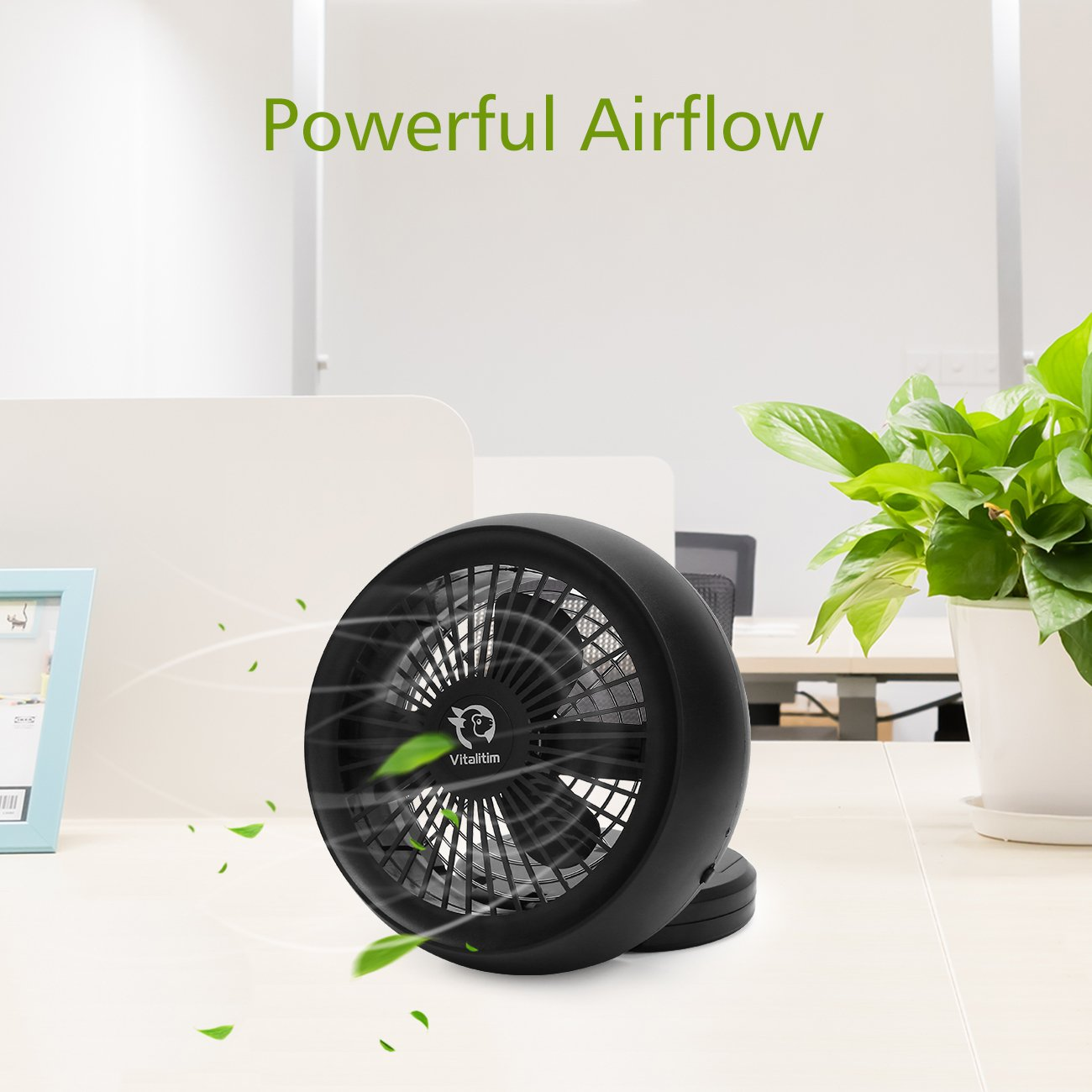 Vitalitim Portable Mini USB Cooling Fan, Personal Desktop Table Fan for Office Room Outdoor Household Traveling, Dual Power Sources, Touch Control, Foldable Design, Quiet Operation, 6.5 Inch (Black)
