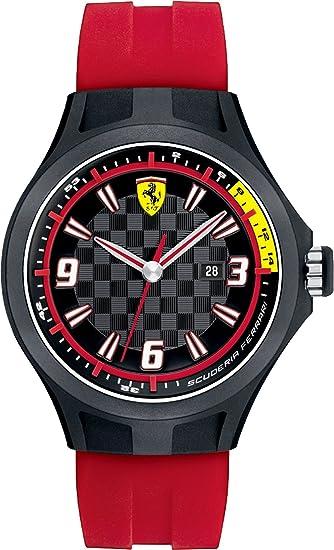Ferrari 830002 - Reloj analógico de cuarzo para hombre, correa de silicona color rojo: Amazon.es: Relojes