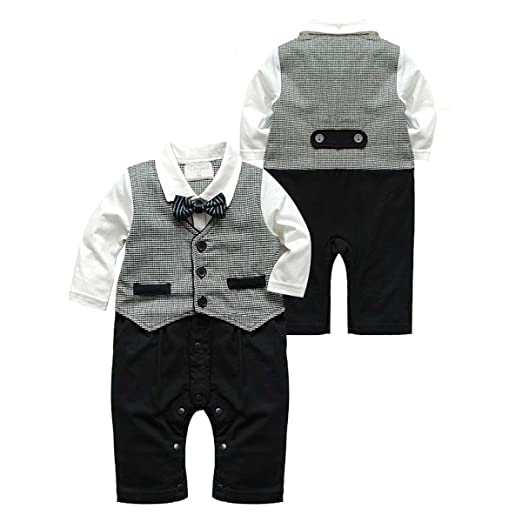 23c89113c5f2 Amazon.com  maifeng Newborn Baby Boys Infant Gentleman Suit Bow Tie ...