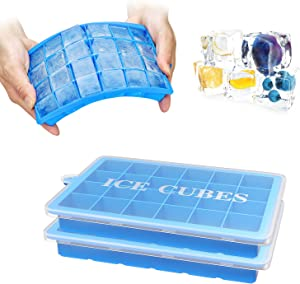 Ouddy Ice Cube Tray, 2 Pack 48 Trays Food Grade Silicone Ice Cube Trays for Freezer Durable Stackable Mini Ice Cube Trays for Chilled Drinks Whiskey & Cocktails - Blue