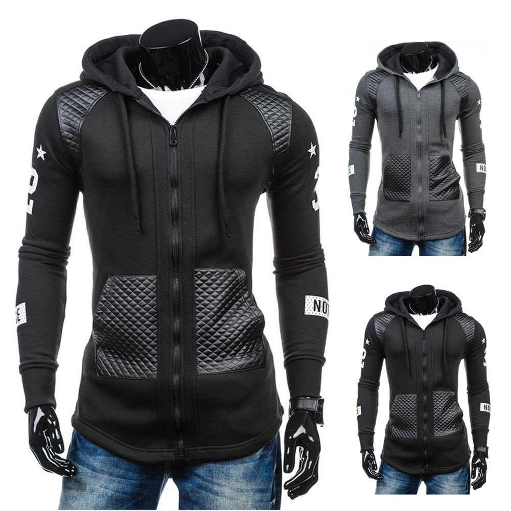 Fashion Sport Hooded Coat,Casual Cotton Leather Hoodies Jacket Plus Size Patchwork Outwear Leewos LMM24781