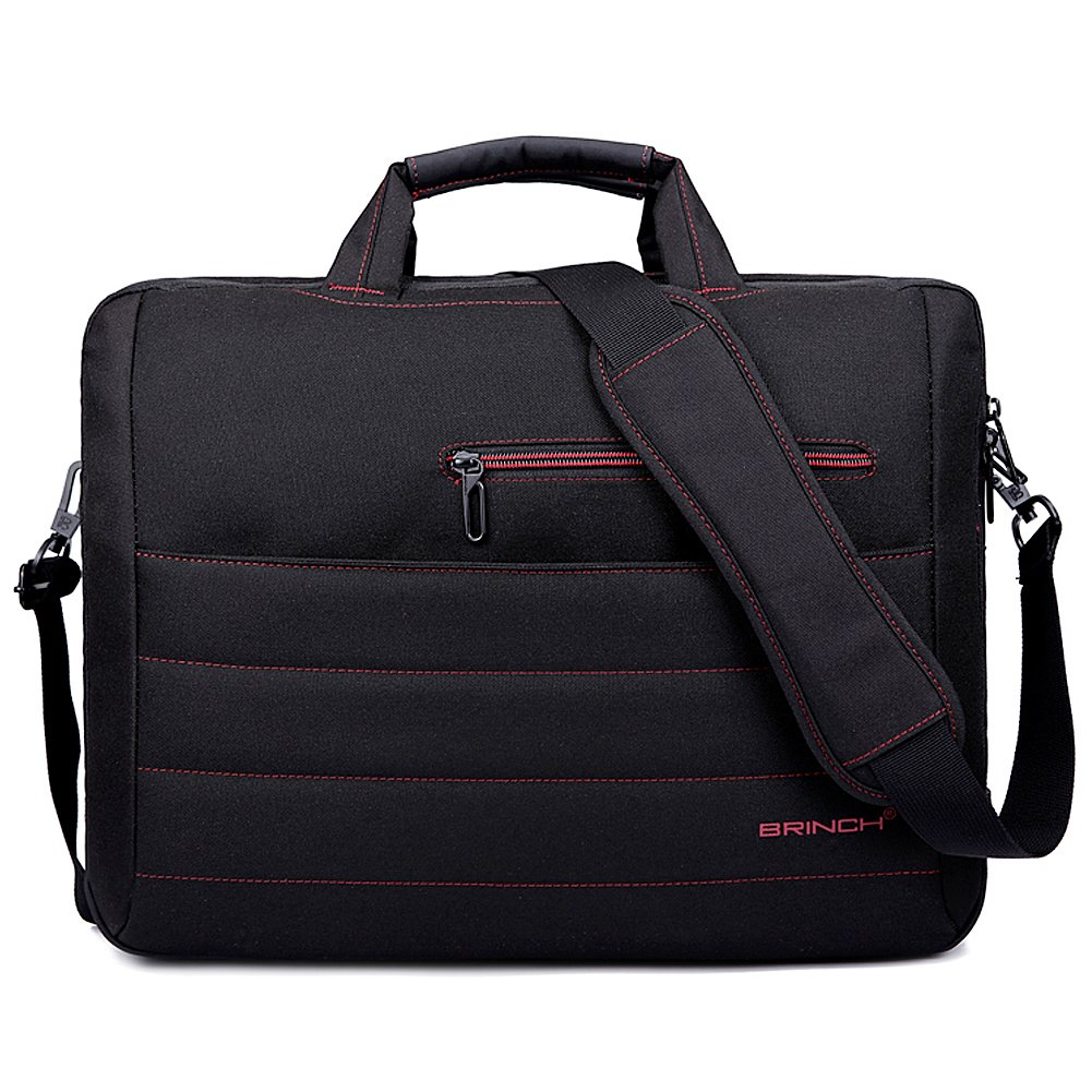 BRINCH New Style 17.3 Inch Nylon Shockproof Laptop Case Messenger Bag For 17 - 17.3 Inch Laptop / Notebook / MacBook / Ultrabook with Shoulder Strap Handles and Various Pockets (Black - Red)